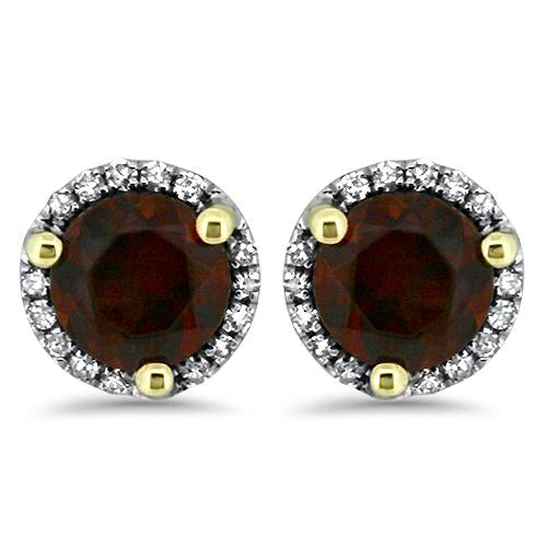 Garnet Halo Diamond Earrings
