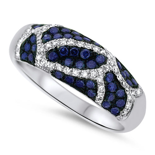 Blue & White Diamond Fashion Ring