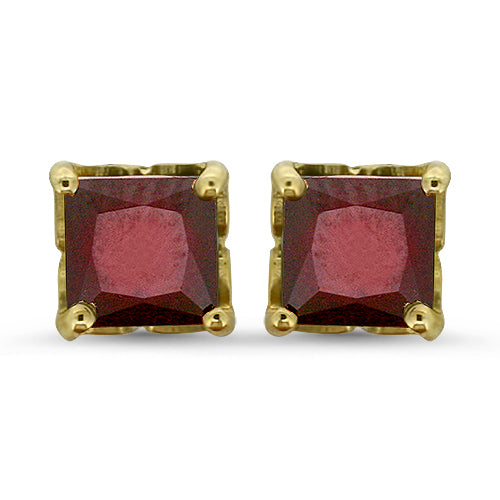 Princess Cut Garnet Earrings
