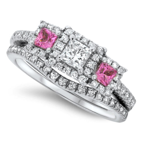 Pink Sapphire & Diamond Wedding Set