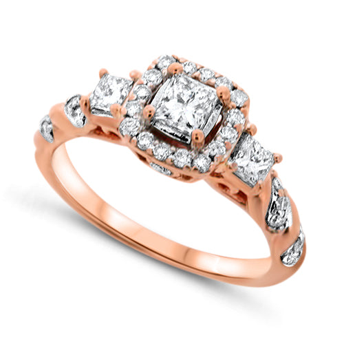 Three-Stone Rose Gold Diamond Ring