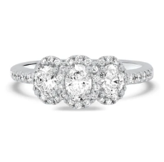 Three Stone Halo Oval Diamond Ring