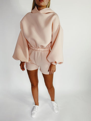 Peach Hoodie and Short Lounge Set