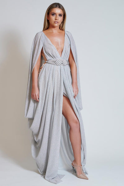 Silver Sparkle Split Front Drape Dress