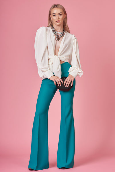 Turquoise High Waisted Flares