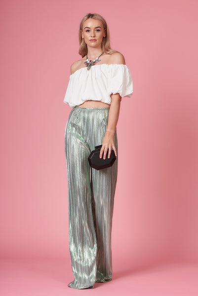 Mint Metallic Pleated Trousers