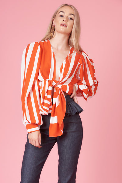 Orange Striped Belle Sleeve Tie Shirt