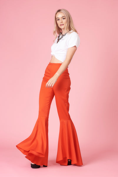 Red High Waisted Circle Flares