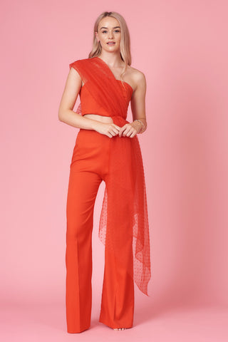 Red High Waisted Crepe Flares