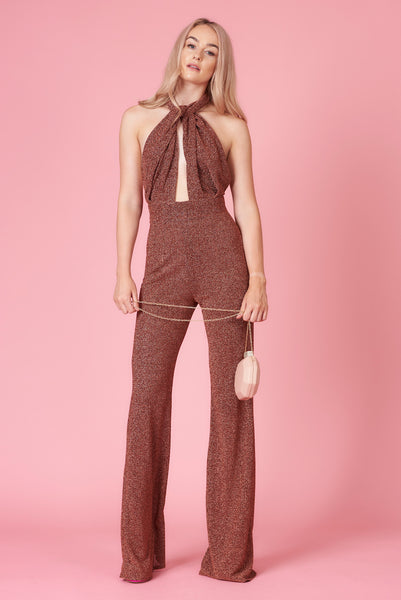Burnt Orange Sparkle Halter Neck Jumpsuit