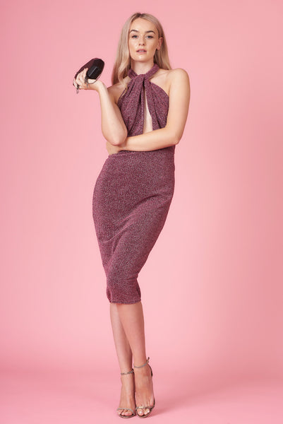 Violet Sparkle Halter Neck Midi Dress