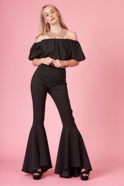 Black High Waisted Mega Flares