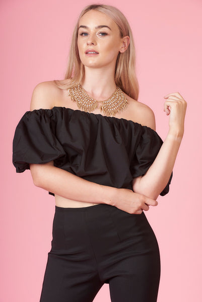 Black Gathered Bardot Crop Top