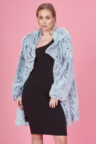 Blue Duo Tone Fluffy Jacket