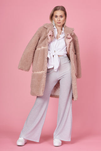 Beige Teddy Fur Longline Coat