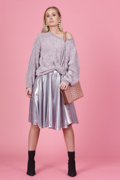 Foil look fabric circle skirt
