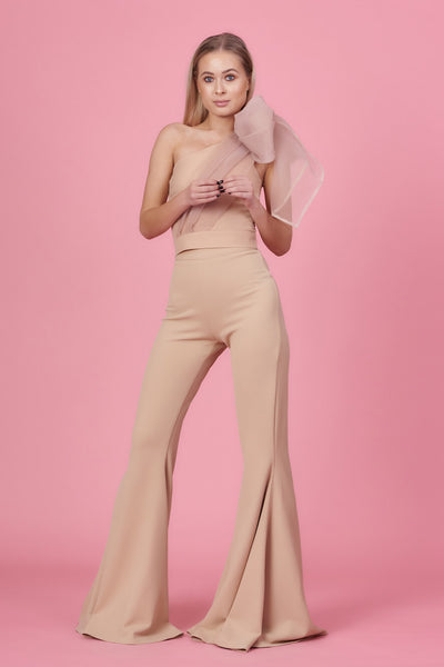 Nude Organza Bow Jumpsuit