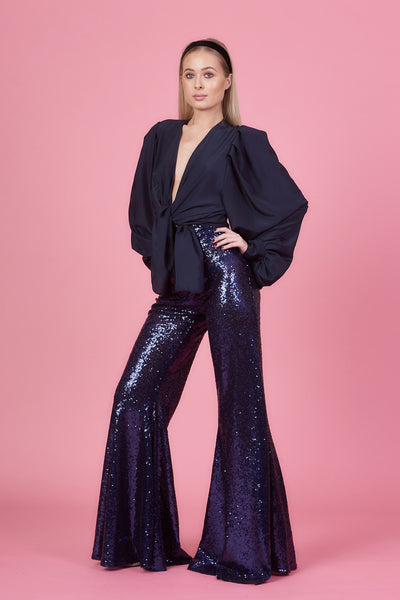 Midnight Blue Sequin Stretch Flares