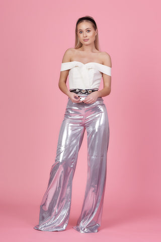 Silver Wide Leg Trousers