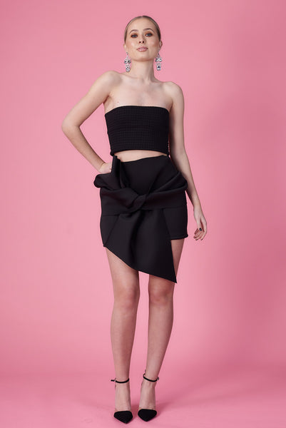 Neoprene Bow Mini Skirt