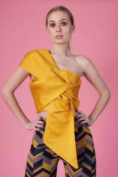 Mustard Duchess Satin Bow One Shoulder Top