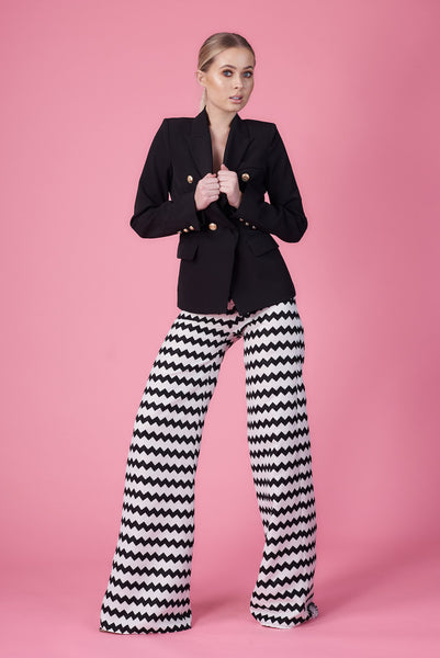 Monochrome Zig Zag Wide Leg Trousers