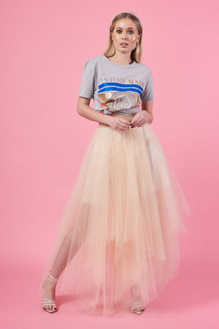 Nude Choppy Tulle Skirt