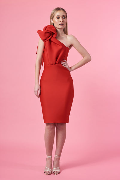 Red Knotted Shoulder Dress