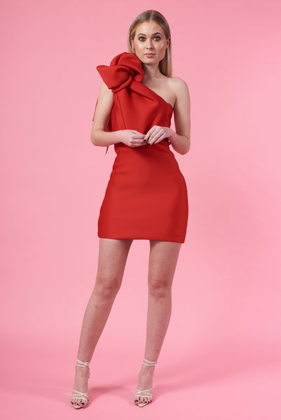 Mini Red Knotted Shoulder Dress