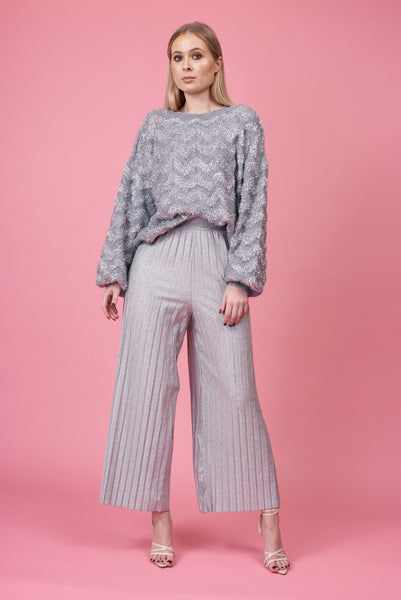 Silver Pleated Jersey Trousers