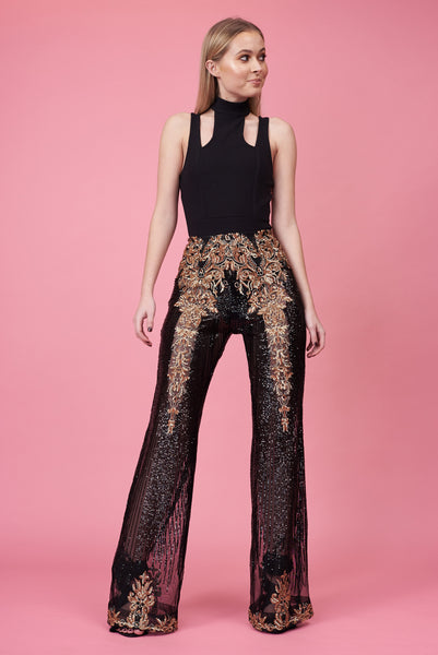 Black & Gold Embroidered Trousers