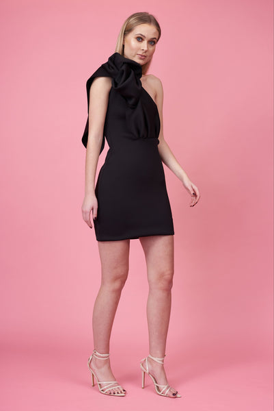 The Mini Black Knotted Shoulder Dress