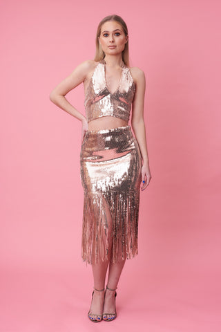 Rose Gold Sequin Halter Top