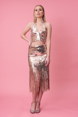 Rose Gold Sequin Tassel Skirt