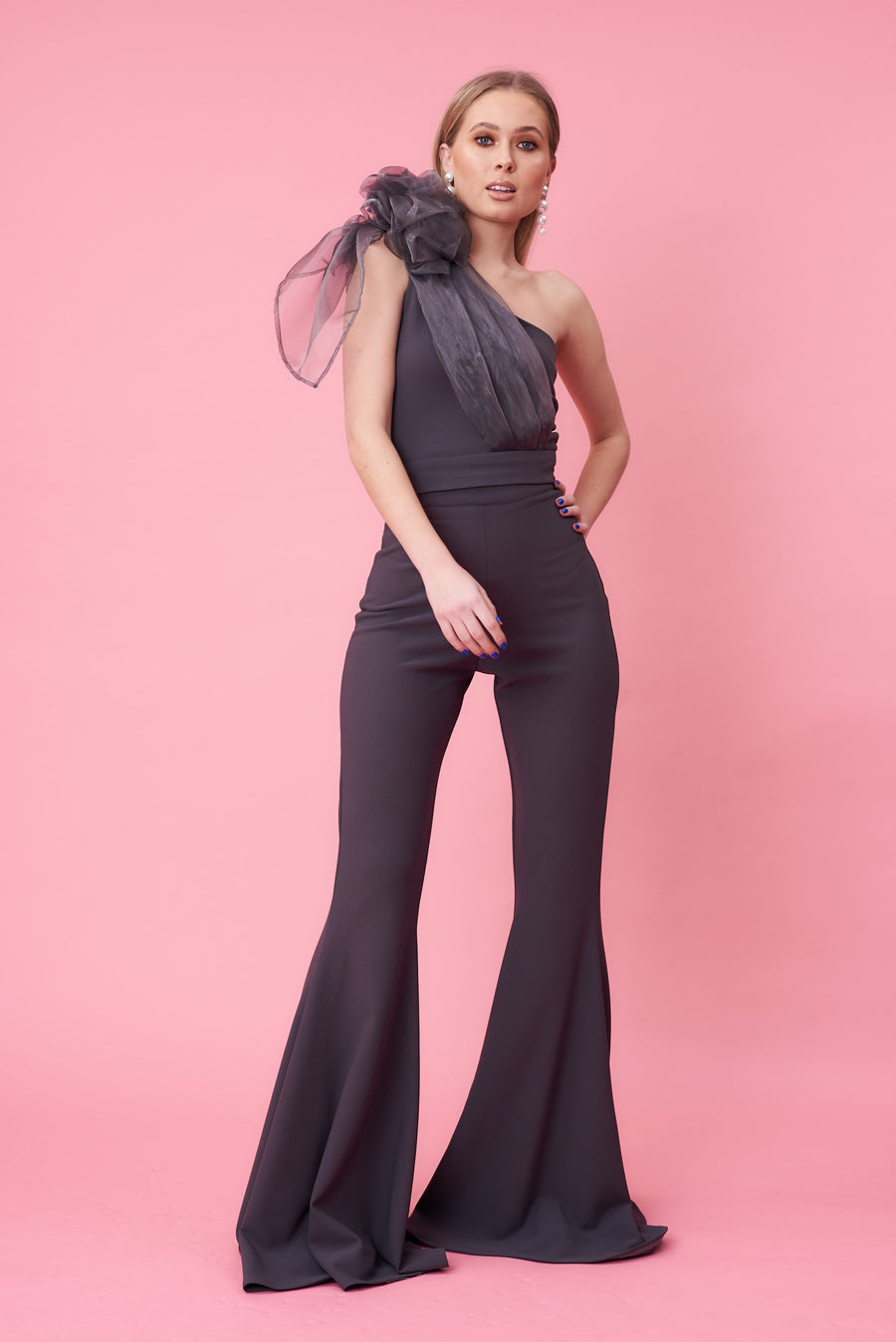 Charcoal Organza Bow Jumpsuit