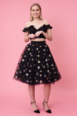 Black Star Sequin Tulle Skirt