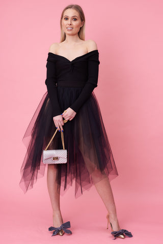 Black Choppy Midi Tulle Skirt