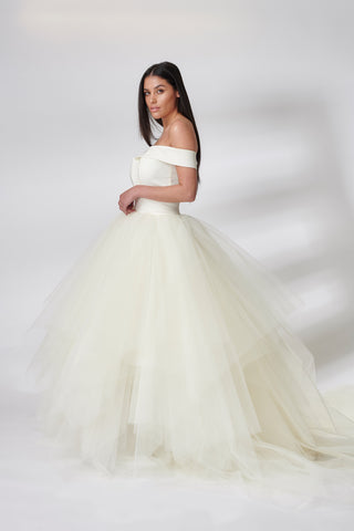 Ivory Skylla Full Length Tulle Dress
