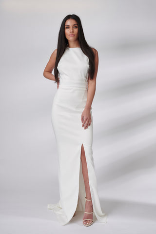 Ivory Racer Neck Fluted Dress