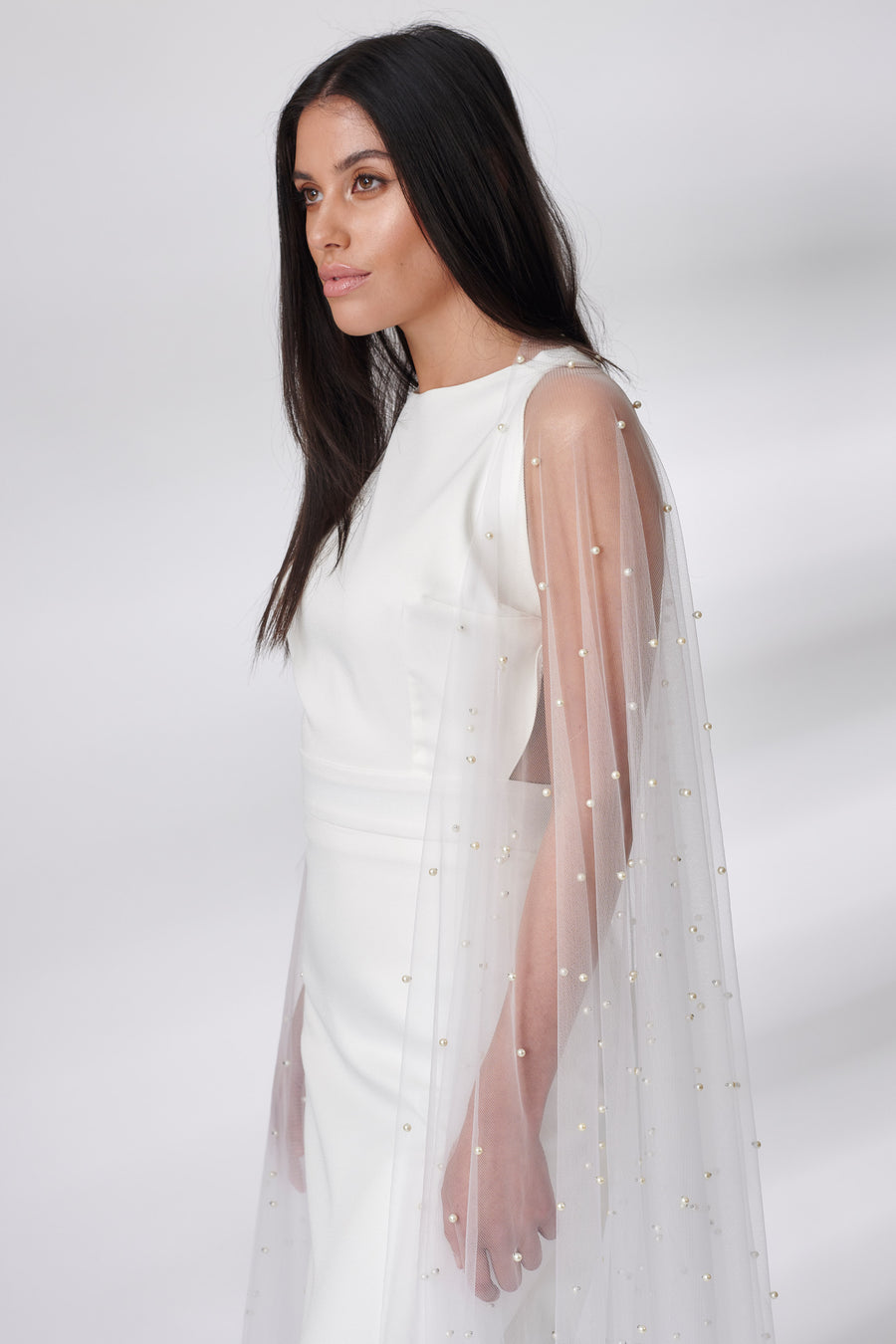 Ivory Sheer Pearl Beaded Cape