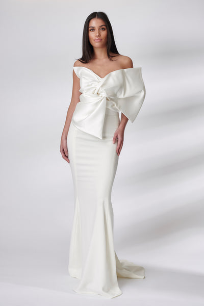 Ivory Mikado Bow Fluted Dress