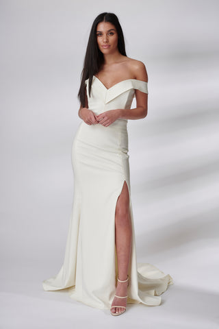 Ivory Skylla Fluted Dress