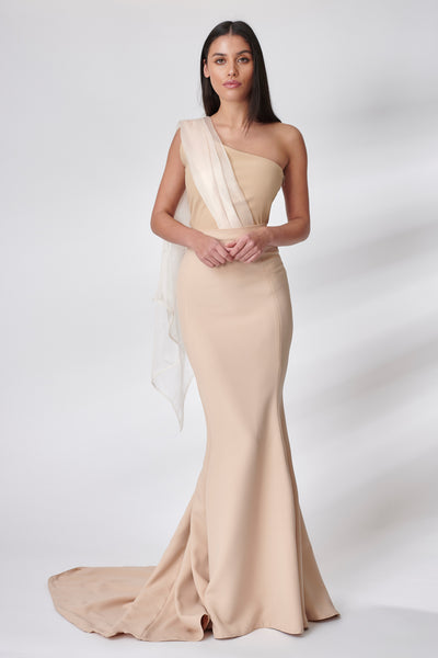 Nude Organza Draped Bridesmaid Dress
