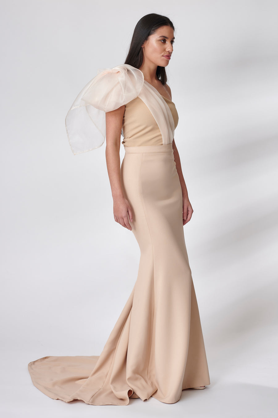 Beige Organza Bow Bridesmaid Dress