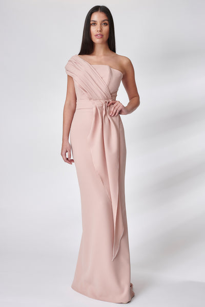 Dusty Pink Draped Fluted Dress