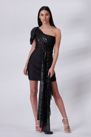 Black Sequin Drape Dress
