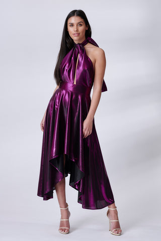 Violet Metallic Halter Neck Dress