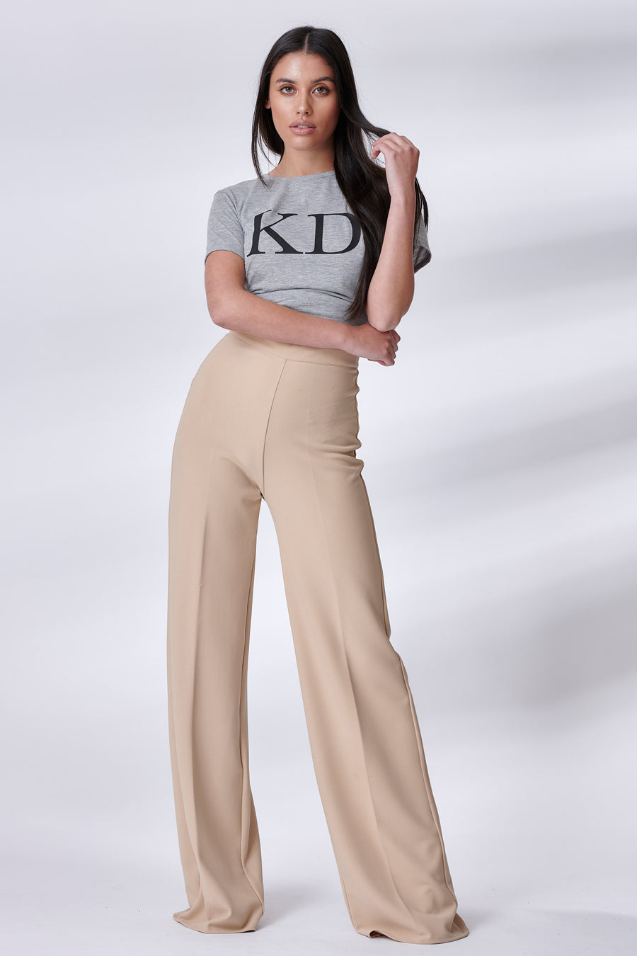Beige Stretch Straight Leg Trousers