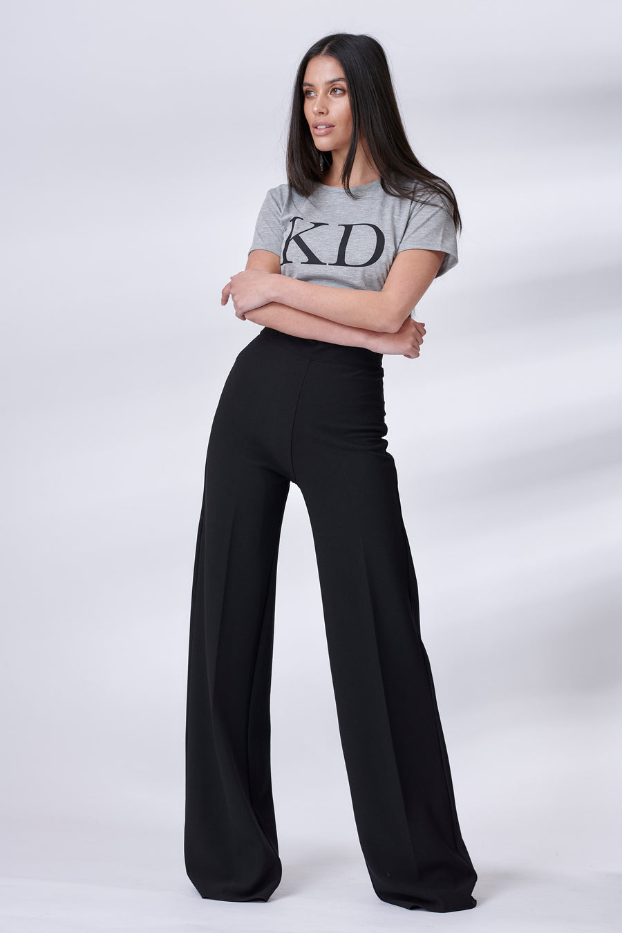 Black Stretch Straight Leg Trousers