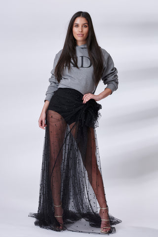 Black Pearl Beaded Drape Tulle Skirt
